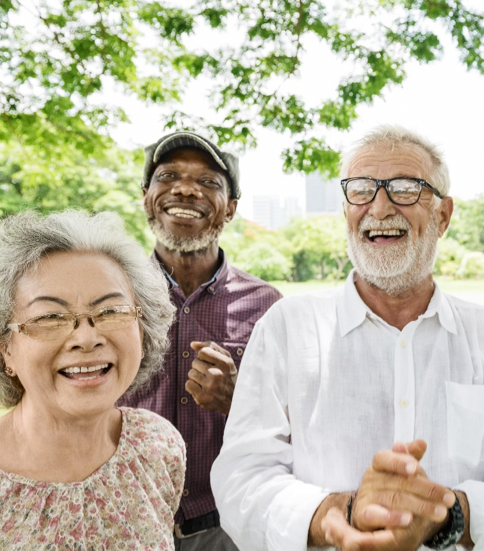 Multiracial group of senior citizens smiling together